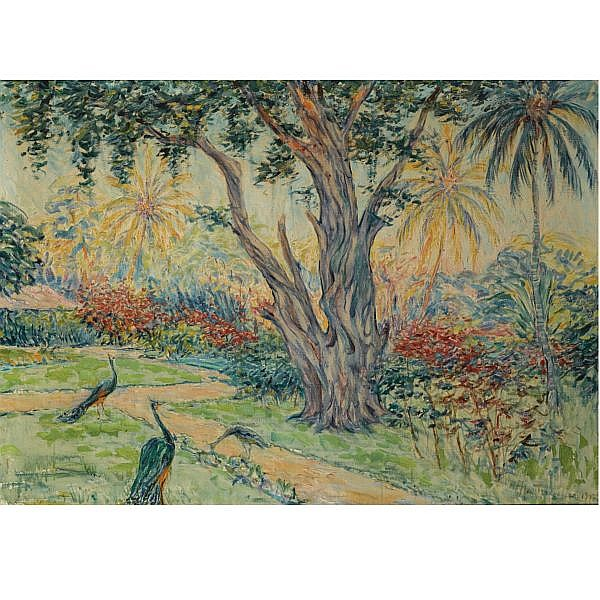 Max Fleischer, German 1861-1930 , 'Javanische Garten' oil on canvas