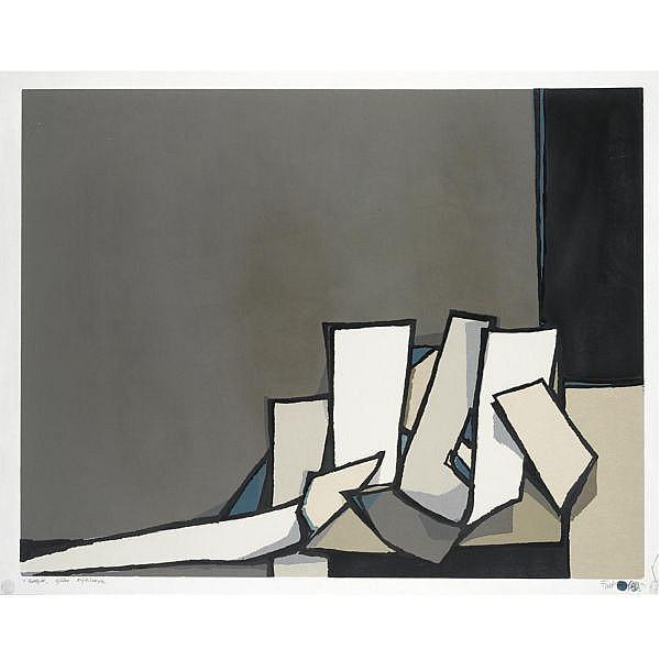 Fon Klement Dutch 1930-2000 , 'Surgir' masonite cut print