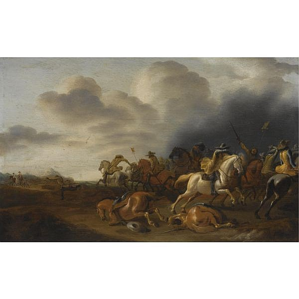 Jan Jacobsz. van der Stoffe Leiden 1610/11 - 1682 , a cavalry battle scene oil on panel