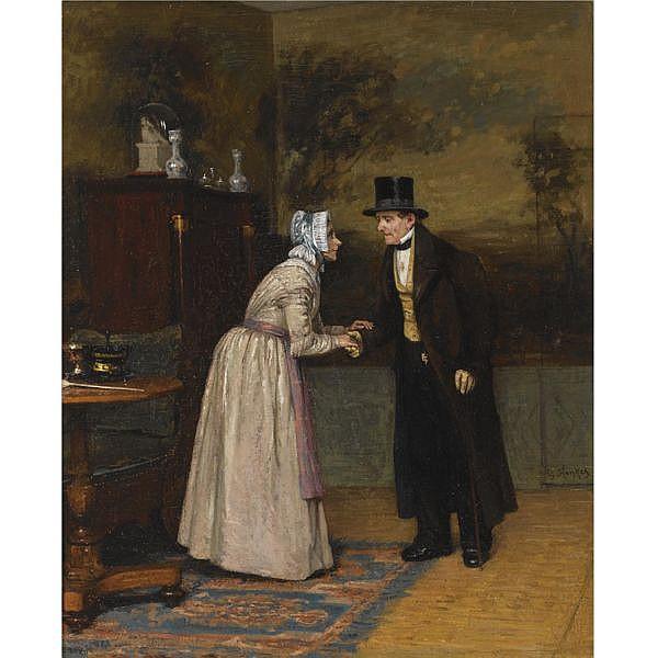 Gerke Henkes Dutch 1844-1927 , The greetings oil on panel