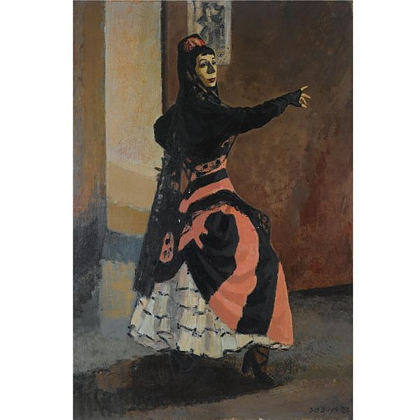 Bob Buys Dutch 1912-1970 , a female flamenco dancer oil on canvas