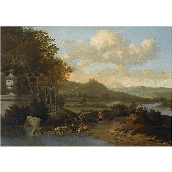Josua de Grave Amsterdam 1643 - 1712 The Hague , shepherds with their flock watering in a classical landscape oil on canvas