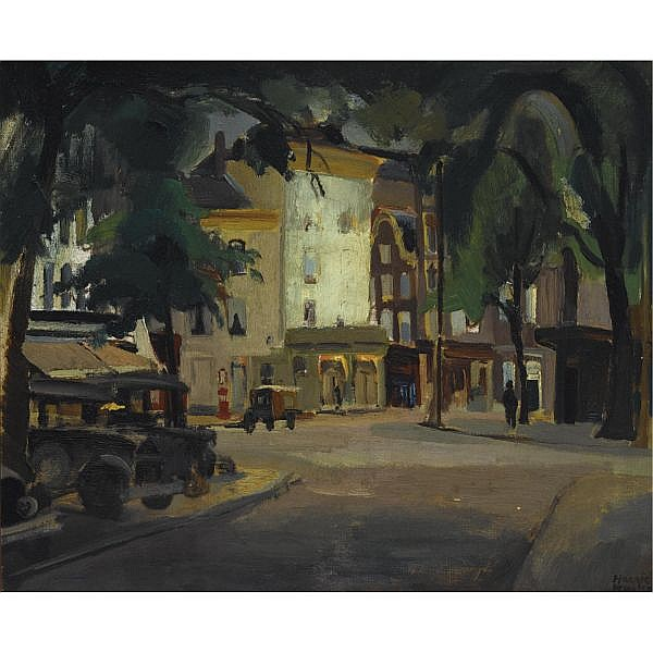 Harrie Kuyten Dutch 1883-1952 , View of the Thorbeckeplein Amsterdam oil on canvas