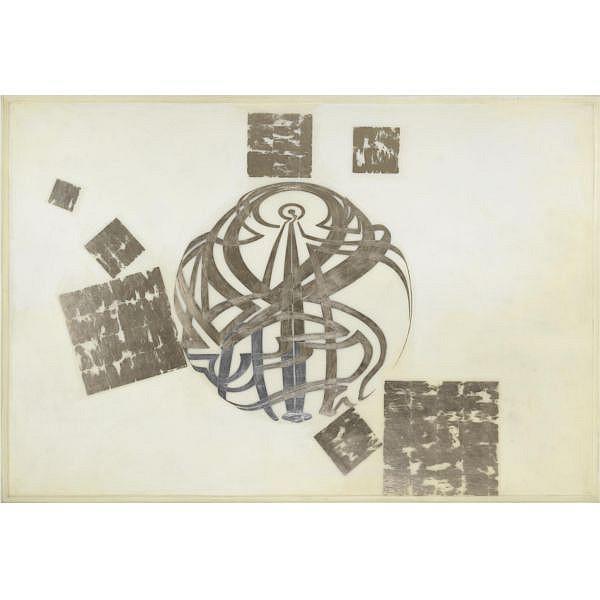 m - Domenico Bianchi , n. 1955 Senza titolo cereresina, foglia oro bianco e foglia palladio su fibra di vetro