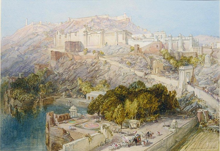 f - WILLIAM SIMPSON, 1823-1899 RAJASTHAN. FORT OF JAIGARH AND THE PALACE OF AMBER ABOVE MAOTA