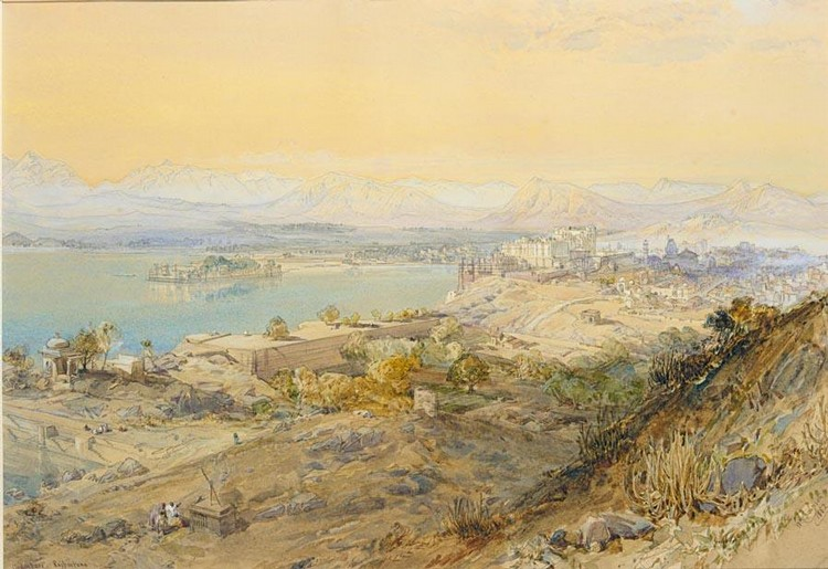 f - WILLIAM SIMPSON, 1823-1899 UDAIPUR. THE CITY PALACE, LAKE PICHOLA AND THE JAG NIWAS, 1862
