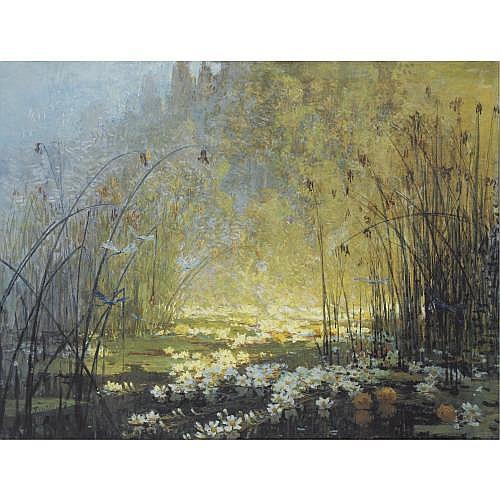 Pierre-Eugène Montézin , L'étang aux nénuphars et libellules