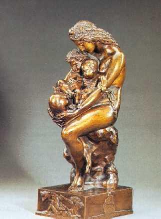 AUGUSTE-HYACINTHE DEBAY (FRENCH, 1804-1865) LE BERCEAU PRIMITIF: EVE ET SES DEUX ENFANTS