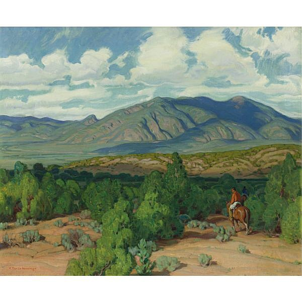 Ernest Martin Hennings 1886-1956 , Across Taos Valley oil on canvas