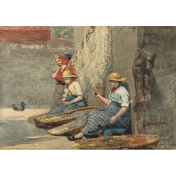 l - Winslow Homer 1836-1910 , Fishergirls Coiling Tackle watercolor on paper