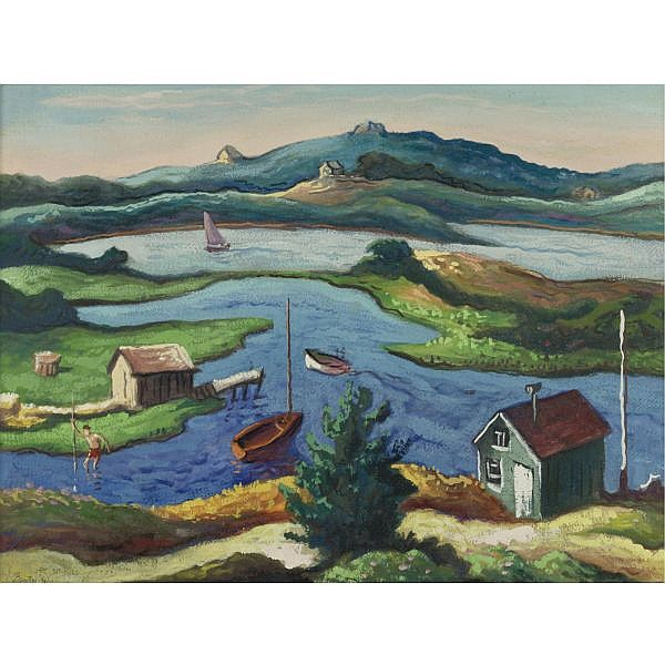 u - Thomas Hart Benton 1889-1975 , Menemsha Pond gouache on paper