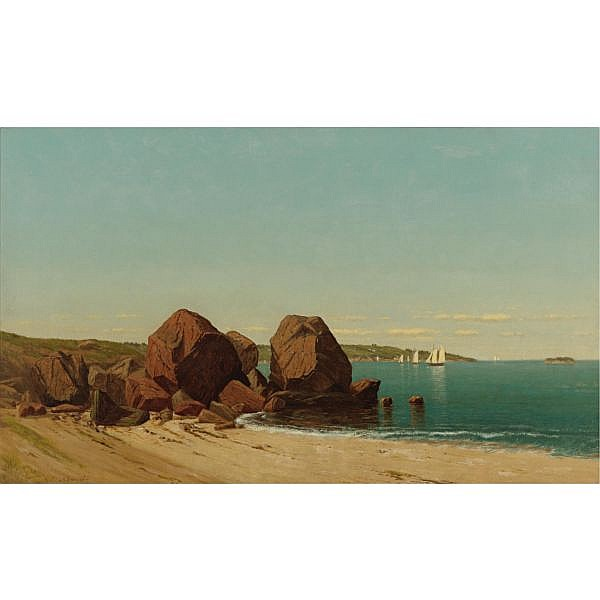 James Renwick Brevoort 1832-1918 , Half Moon in a Cove at Gloucester Bay oil on canvas