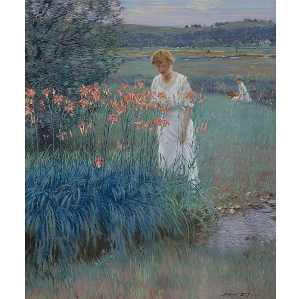 Edward Dufner 1872-1957 , Among the Lilies oil on canvas mounted on board