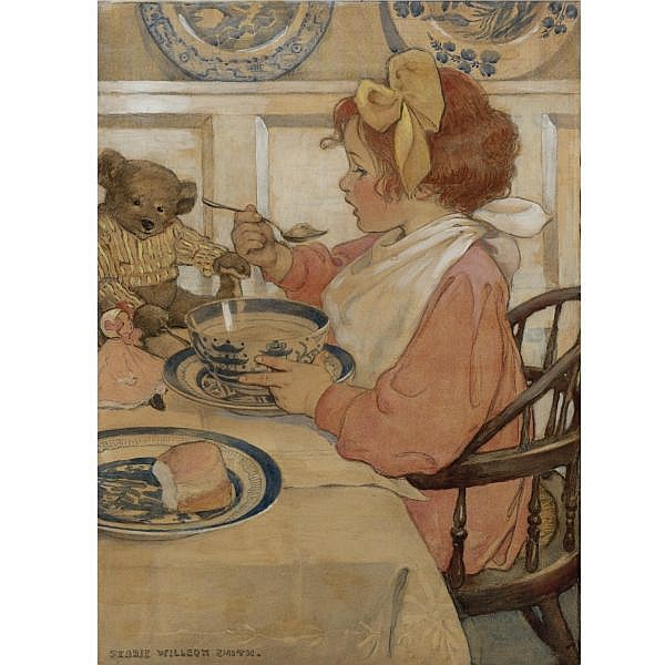 Jessie Willcox Smith 1863-1935 , Then the Epicure (The Third Age) mixed media on illustration board