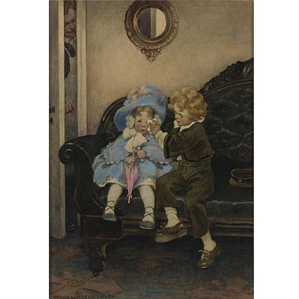 Jessie Willcox Smith 1863-1935 , The Runaway Couple mixed media on illustration board