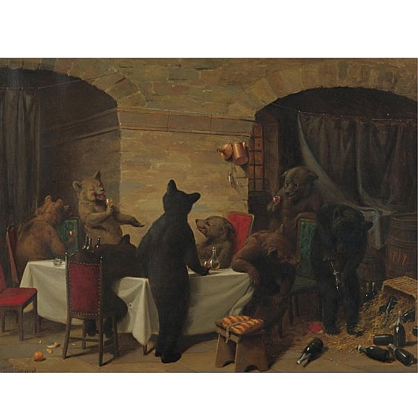 William Holbrook Beard 1823-1900 , Bear Carousal oil on canvas