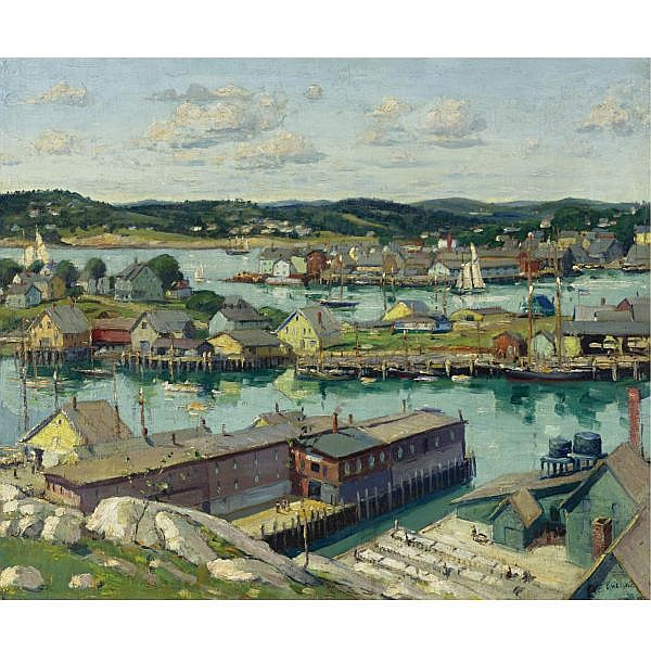 Max Kuehne 1880-1968 , Gloucester Harbor oil on canvas laid down on board
