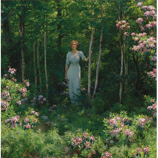 Charles Courtney Curran 1861-1942 , The Edge of the Woods oil on canvas