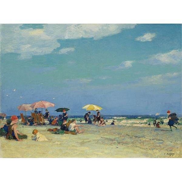Edward Henry Potthast 1857-1927 , Beach Scene oil on canvas mounted on masonite, unframed