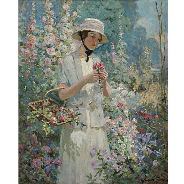 Abbott Fuller Graves 1859-1936 , Woman with Flower Basket oil on canvas