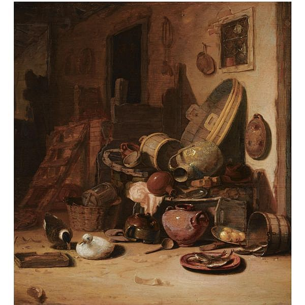 Hendrick Bogaert , Amsterdam 1626/27 - after 1674 A still life of earthenware pots, barrels, baskets, jugs, an earthenware plate with fish, together with ducks, in a barn oil on panel, possibly cut