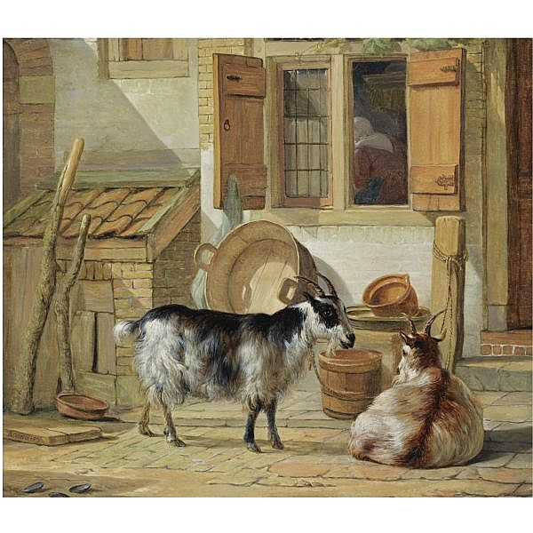 Abraham van Strij , Dordrecht 1753 - 1826 A courtyard with two goats oil on panel