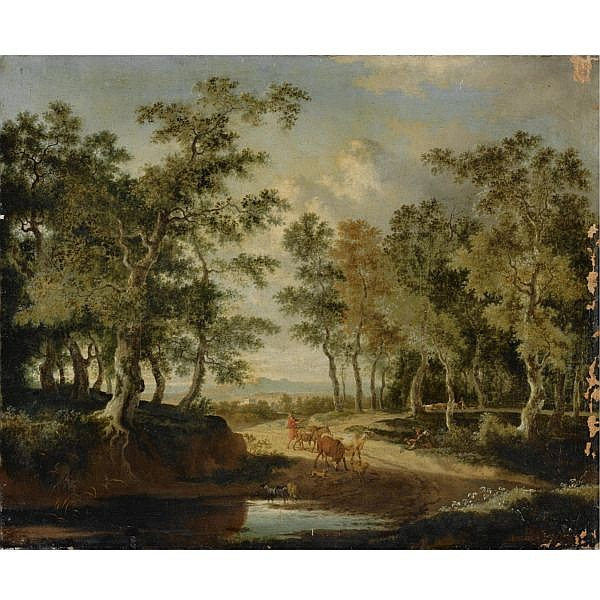Jan Hackaert , Amsterdam 1629 - 1699 A wooded landscape with a shepherd and his herd on a path, near a puddle oil on canvas, unframed