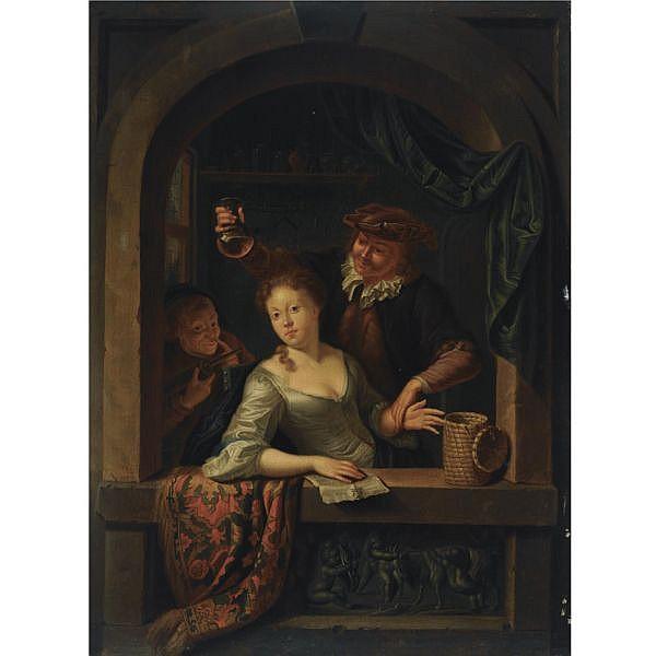 Louis de Moni , Breda 1698 - 1771 Leiden   The doctor's visit oil on panel