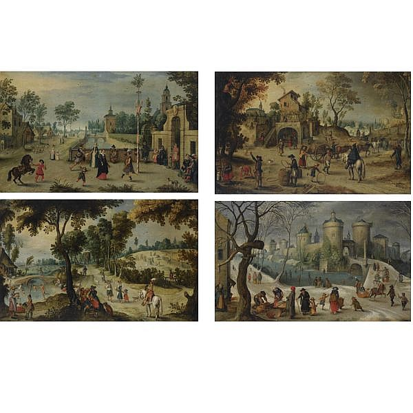 Sebastiaan Vrancx , Antwerp 1573 - 1647 A set of four landscapes representing the Four Seasons: Spring; Summer; Autumn; Winter a set of four, all oil on canvas
