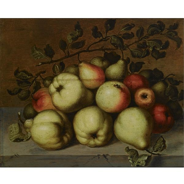 Johannes Bouman , Strasbourg 1601 - 1658 Utrecht A still life with pears and apples on a stone ledge oil on panel, shaven on the right edge