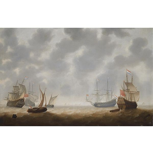 Jacob Adriaensz. Bellevois , Rotterdam 1621 - 1676 Four galley Frigates and two smallships in choppy seas, shipping at the horizon oil on canvas