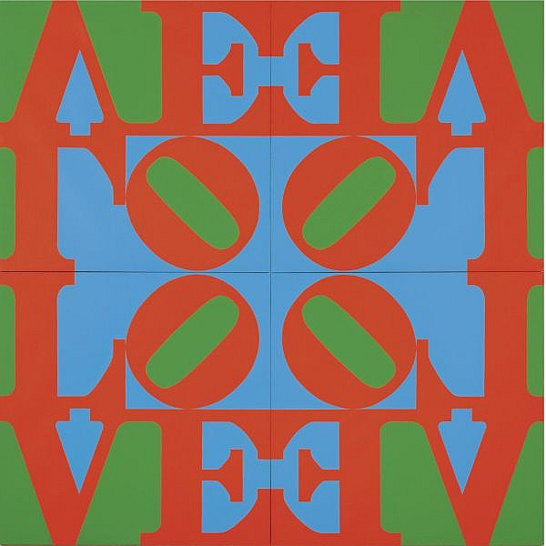 - Robert Indiana , 1928   Love Wall (Red Green Blue) oil on canvas, in four parts