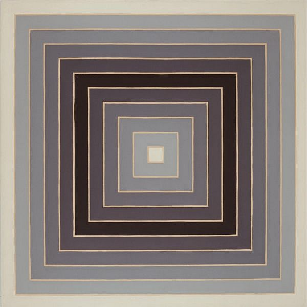 - Frank Stella , b. 1936   Concentric Square alkyd on canvas