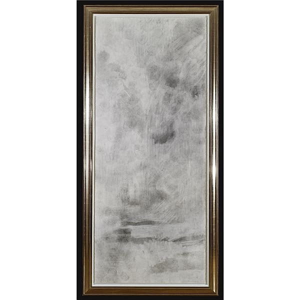 - David Hammons , b.1943 Hail Mary (Basketball Drawing) dirt on paper in silver frame, with Bible