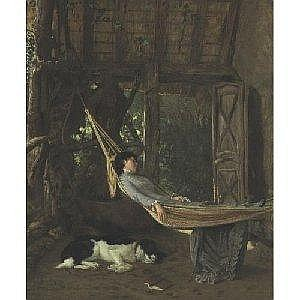 FRANCIS DAVID MILLET 1846-1912 LILLY MILLET IN A HAMMOCK IN THE STUDIO, BRIDGEWATER, MASSACHUSETTS Measurements: 31 by 25.75in. Alternate Measurements: (78.7 by 66.4 cm) signed Millet and dated 1878, l.l. oil on canvas Provenance: Family of the
