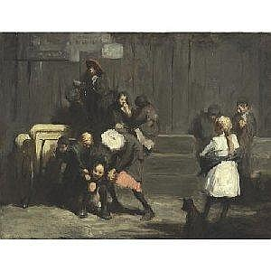 GEORGE BELLOWS 1882-1925 KIDS Measurements: 32in. by 42in. Alternate Measurements: (81.3 by 106.7 cm) signed Geo. Bellows, l.l. oil on canvas Painted in 1906. This work of art will be included in the forthcoming catalogue raisonne of paintings by