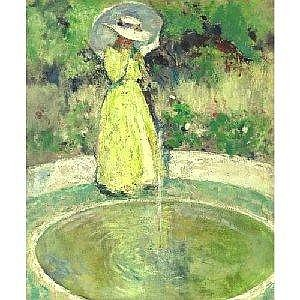 CHARLES W. HAWTHORNE 1872-1930 THE FOUNTAIN Measurements: 30 by 25in Alternate Measurements: (76.2 by 63.5 cm) oil on panel Painted circa 1913. Provenance: Estate of the artist William Macbeth, Inc., New York Mrs. Edward Lamb, Toledo, Ohio (sold:
