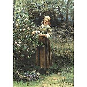 DANIEL RIDGWAY KNIGHT 1839-1924 CUTTING ROSES Measurements: 45.75 by 32in. Alternate Measurements: (116.2 by 81.3 cm) signed Ridgway Knight Paris, l.r. oil on canvas This painting will be included in the forthcoming catalogue raisonne being prepared