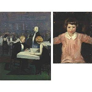 GUY PÔNE DU BOIS 1884-1958 DINING OUT & YOUNG GIRL IN PINK: A DOUBLE SIDED PAINTING Measurements: 20 by 15in. Alternate Measurements: (50. 8 by 38.1 cm) front: signed Guy PŠne du Bois and dated '19, l.r. oil on panel Provenance: Sale: Sotheby's, New