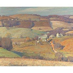 DANIEL GARBER 1880-1958 DOWN IN PENNSYLVANIA Measurements: 50.25 by 60.25in. Alternate Measurements: (127.6 by 153 cm) signed Daniel Garber, l.r. oil on canvas Painted circa 1935. This painting will be included in the forthcoming catalogue raisonne