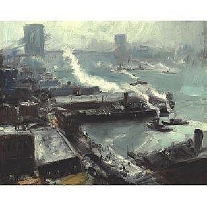 JOHN WHORF 1903-1959 BROOKLYN BRIDGE FROM THE BROOKLYN NAVY YARD Measurements: 20.25 by 25in. Alternate Measurements: (51.4 by 63.5 cm signed John Whorf, l.l. oil on canvas This painting retains its original Carrig-Rohane frame inscribed 19 ¸