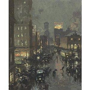 CHARLES HOFFBAUER 1875-1957 A RAINY NEW YORK STREET Measurements: 31 25 by 25.25in. Alternate Measurements: (79.4 by 64.1 cm) signed Hoffbauer, l.r. oil on canvas Provenance: Estate of the artist, Rhode Island, until the late 1960s Mr. and Mrs.