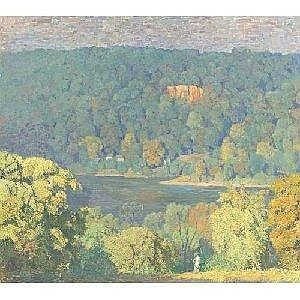 DANIEL GARBER 1880-1958 DELAWARE HILLSIDE Measurements: 36.25 by 40in. Alternate Measurements: (92 by 101.6 cm) oil on canvas Provenance: Estate of the artist Mary Franklin Garber (his wife), by 1968 Tanis Garber Page (their daughter), 1976 Michael