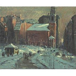 ARTHUR C. GOODWIN 1866-1944 PARK STREET CHURCH IN WINTER Measurements: 30 by 36in. Alternate Measurements: (76.2 by 91.4 cm) signed A.C. Goodwin, l.r. oil on canvas Painted circa 1909-10. Provenance: Roye Levin, Boston, Massachusetts Acquired by the