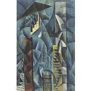 MAX WEBER 1881-1961 BLUE NEW YORK Measurements: 34.25 by 22in. Alternate Measurements: (87 by 55.9 cm) signed Max Weber and dated 1912, l.r.; also inscribed Blue New York 1912 on an old label on the reverse oil on canvas Provenance: Estate of the