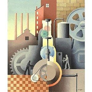 PAUL KELPE 1902-1985 MAN AND MACHINERY #36 Measurements: 25.25 by 21in. Alternate Measurements: (64.1 by 53.3 cm) signed Paul Kelpe and dated '34, l.r.; also inscribed Paul Kelpe/Man and Machine/#36 on a piece of the old backing oil on canvas