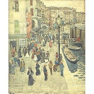 MAURICE B. PRENDERGAST 1858-1924 VENICE Measurements: 18.5in. by 15 25in. Alternate Measurements: (47 by 38.6 cm) signed Maurice B. Prendergast, dated 1898 and titled Venice, l.l.; also inscribed indistinctly Fondamenta Del Vin, l.c. watercolor,