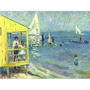 WILLIAM J. GLACKENS 1870-1938 YELLOW BATH HOUSE AND SAILBOAT, BELLPORT, LONG ISLAND Measurements: 18in. by 24in. Alternate Measurements: (45.7 by 61 cm) signed W. Glackens, l.l. oil on canvas Painted circa 1916. Provenance: Kraushaar Gallery, New