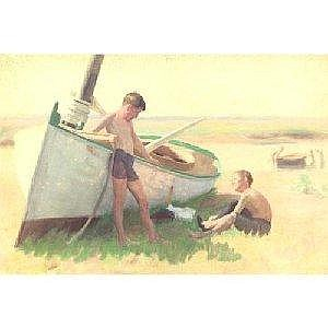 THOMAS P. ANSHUTZ 1851-1912 TWO BOYS BY A BOAT--NEAR CAPE MAY Measurements: 13.5in. by 20 .25in. Alternate Measurements: (34.3 by 51.4 cm) inscribed Near Cape May 1894 by/Thomas P. Anshutz ANA/Edward R. Anshutz Artist's son on the reverse watercolor