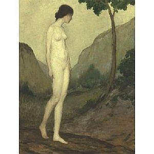ARTHUR B. DAVIES 1862-1928 NUDE IN LANDSCAPE Measurements: 32in. by 24in. Alternate Measurements: (81.3 by 61 cm) oil on canvas Painted circa 1908-09. Provenance: Karl Ritz, Stockton, New Jersey (gift from the artist) Mrs. Karl Ritz (his wife) Albert